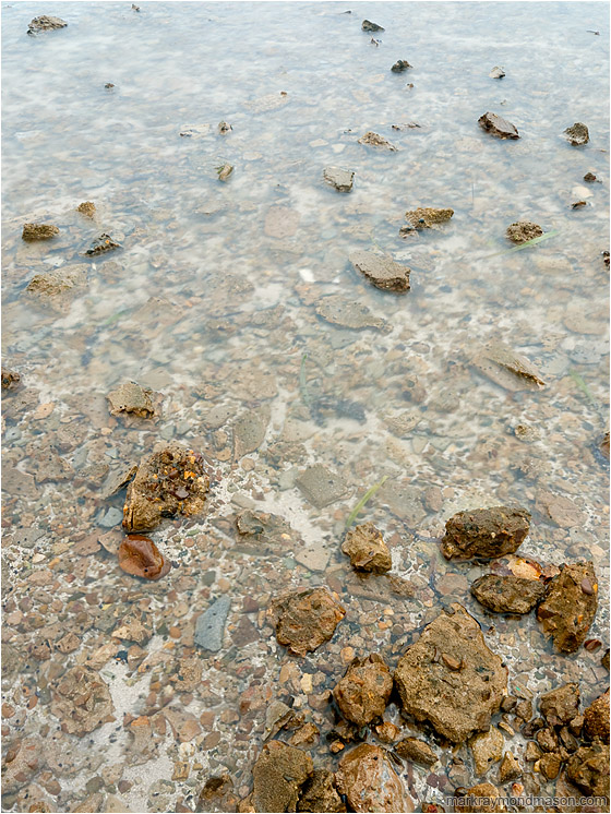 Smooth Sea, Crusted Concrete: Caye Caulker, Belize (2010-05-17) - Fine art photograph showing blocks of broken concrete, crusted with snails, in a smooth shallow sea