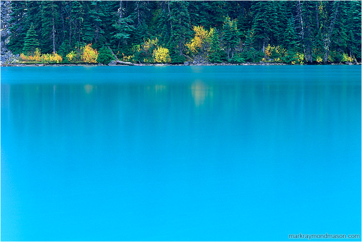 Ice Blue Lake, Reflections: Joffre Lakes, BC, Canada (2002) - Fine art photograph of blue water, reflections, and fall colors