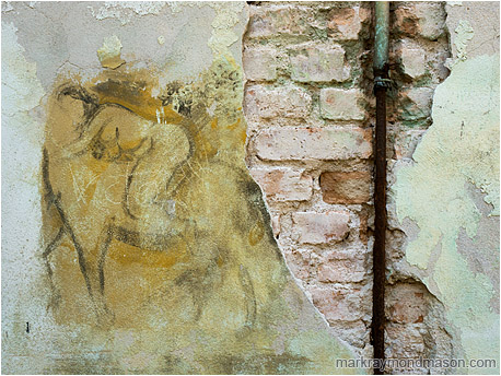 Fine art photograph of a charcoal mural on a chipped and stained concrete wall, with bricks and pipes exposed beneath the damage