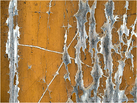 Abstract photograph showing dynamic cracks in aging paint on a wooden doorway, the worn areas looking like crackling arcs of electricity
